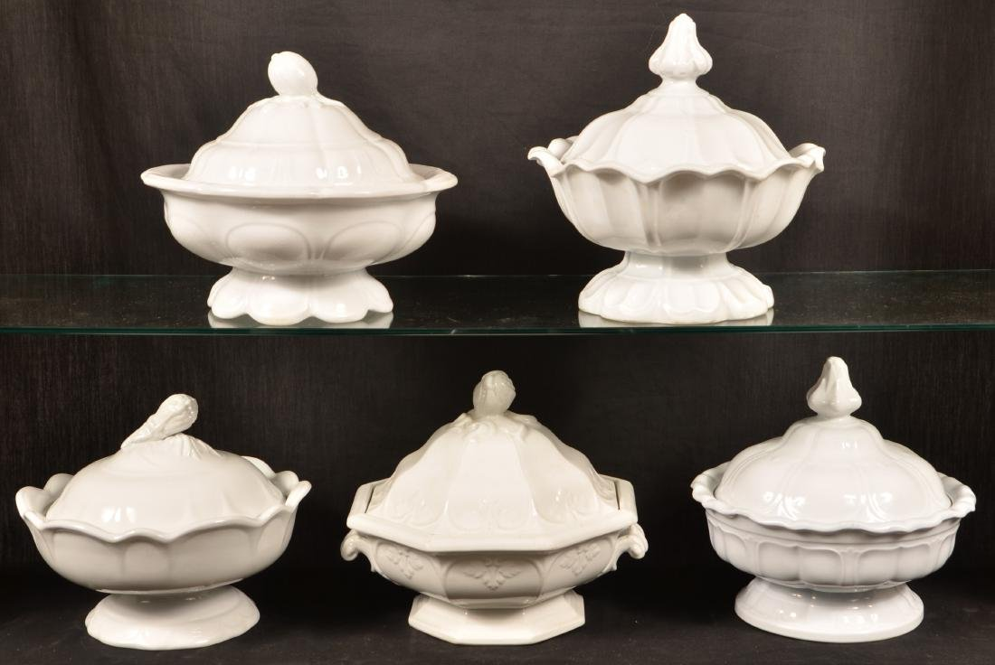 5 White Ironstone Covered Vegetable Dishes.