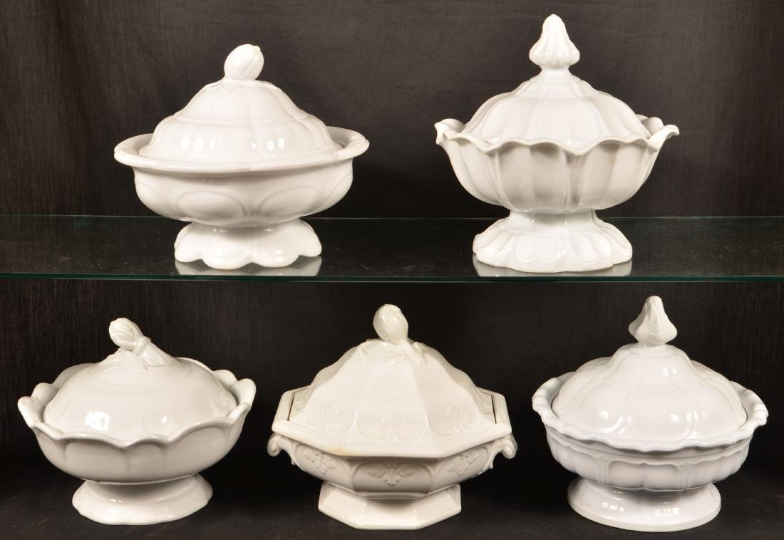 5 White Ironstone Covered Vegetable Dishes. - 2