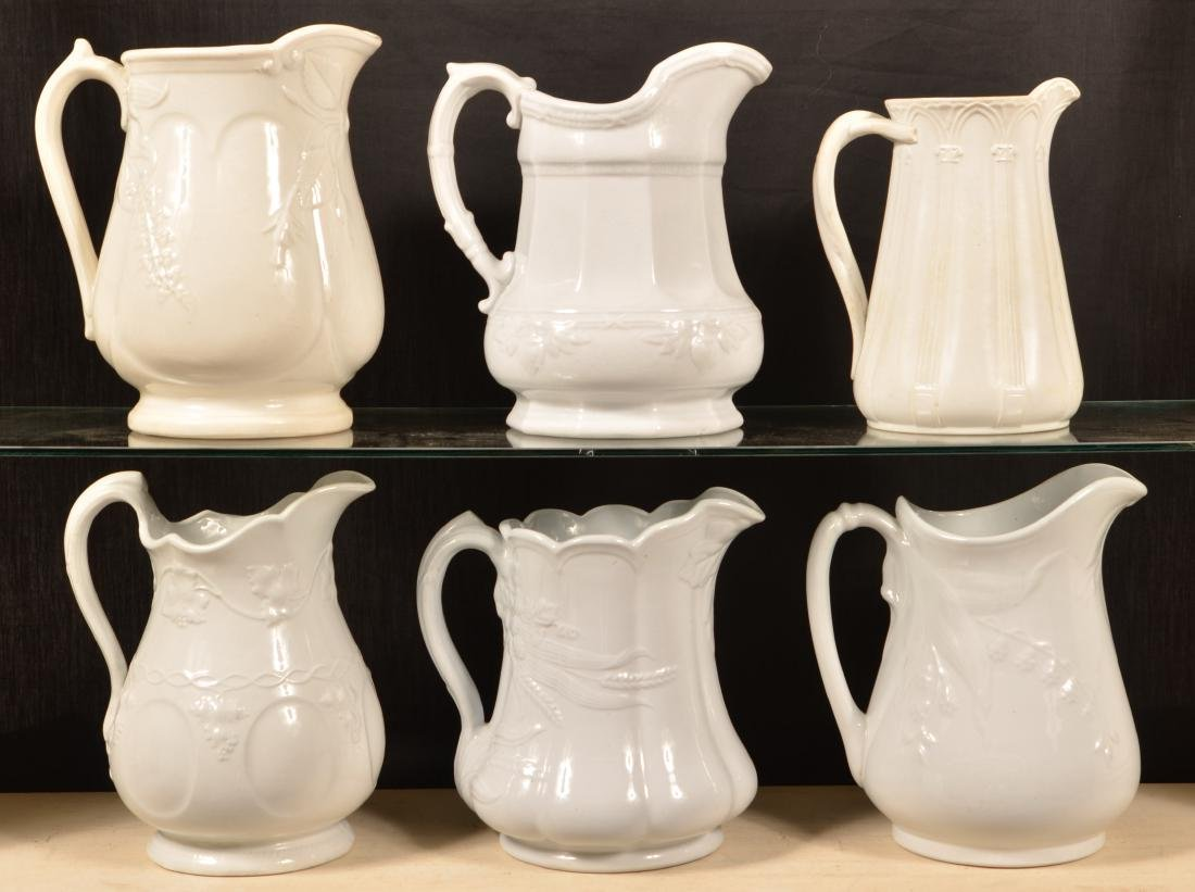 Six Various Ironstone China Pitchers.