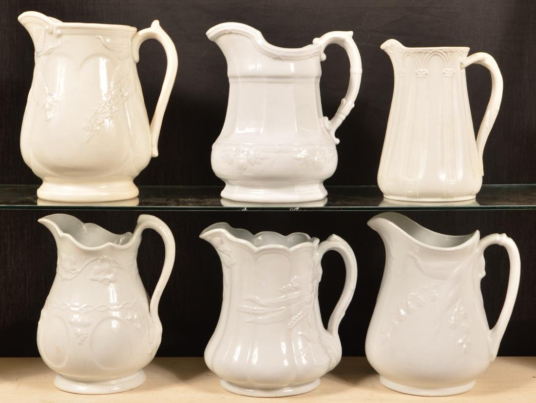 Six Various Ironstone China Pitchers. - 2