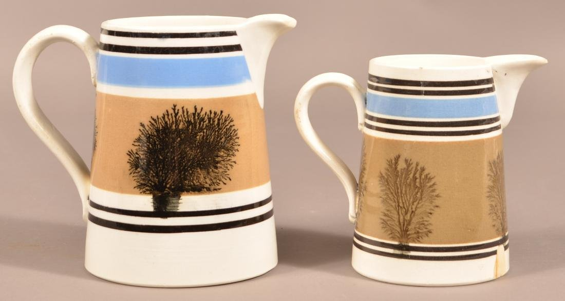 Two English Seaweed Mocha Decorated Pitchers. - 2