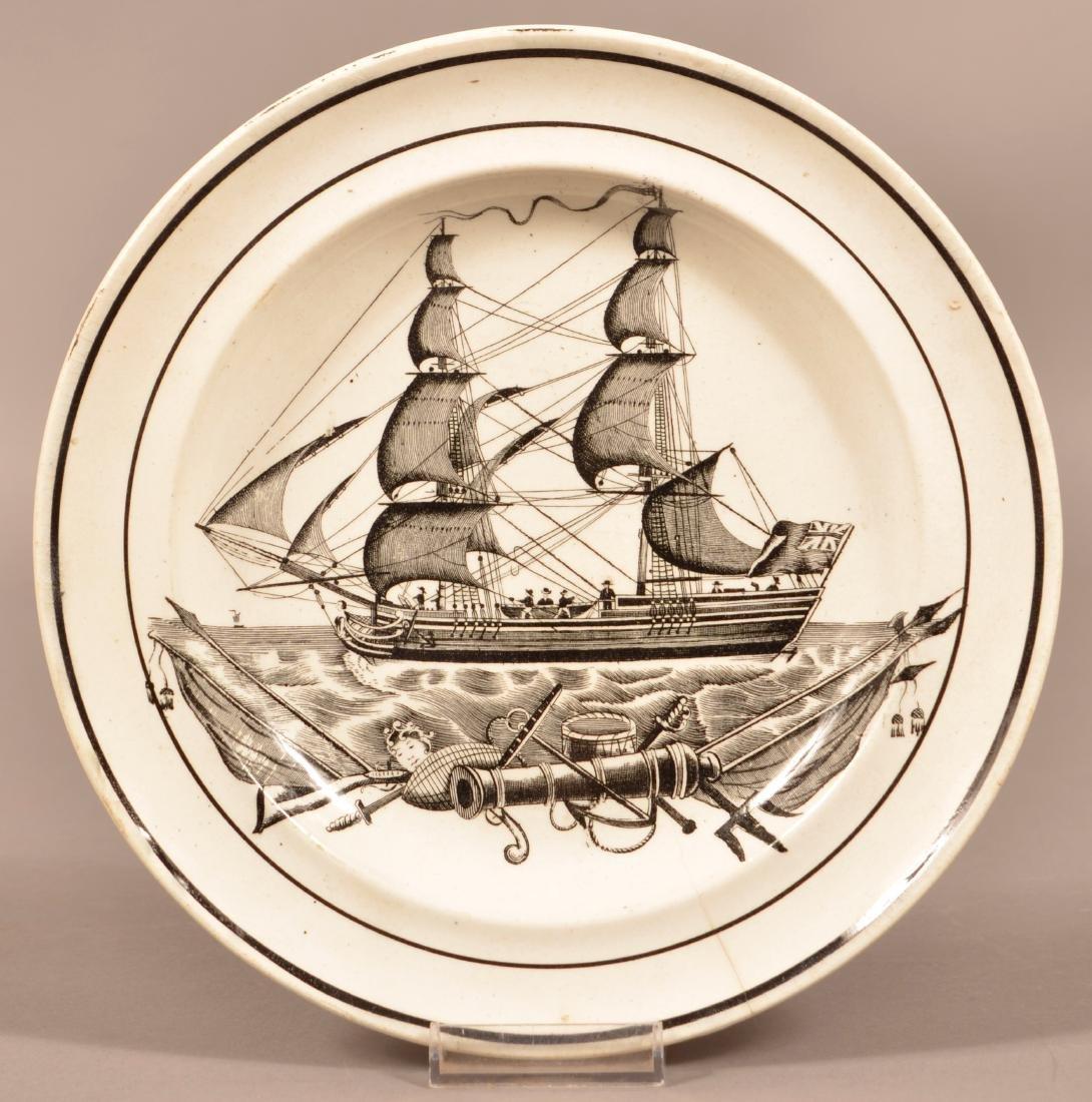 Ship Transfer Pearlware Plate Impressed Dillwyn.