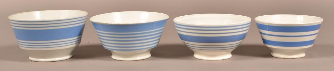 Four Blue Band Mocha China Bowls.