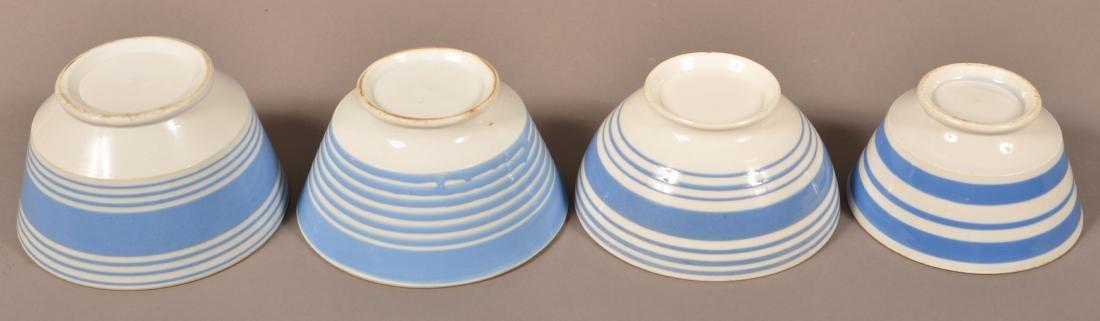 Four Blue Band Mocha China Bowls. - 2