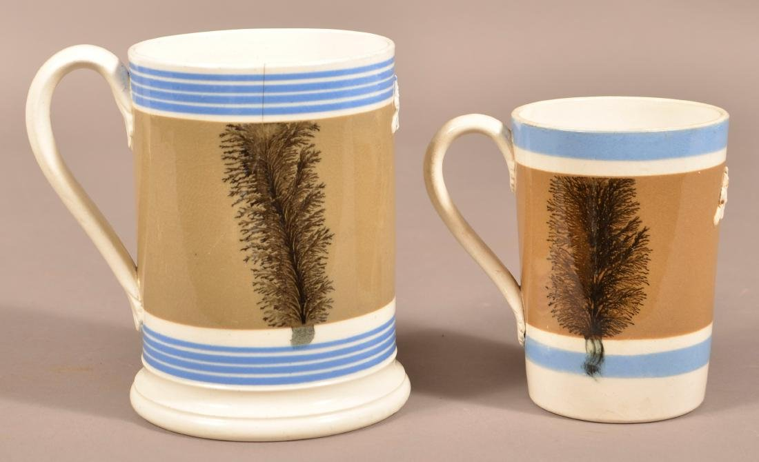 Two English Seaweed Mocha Decorated Mugs.