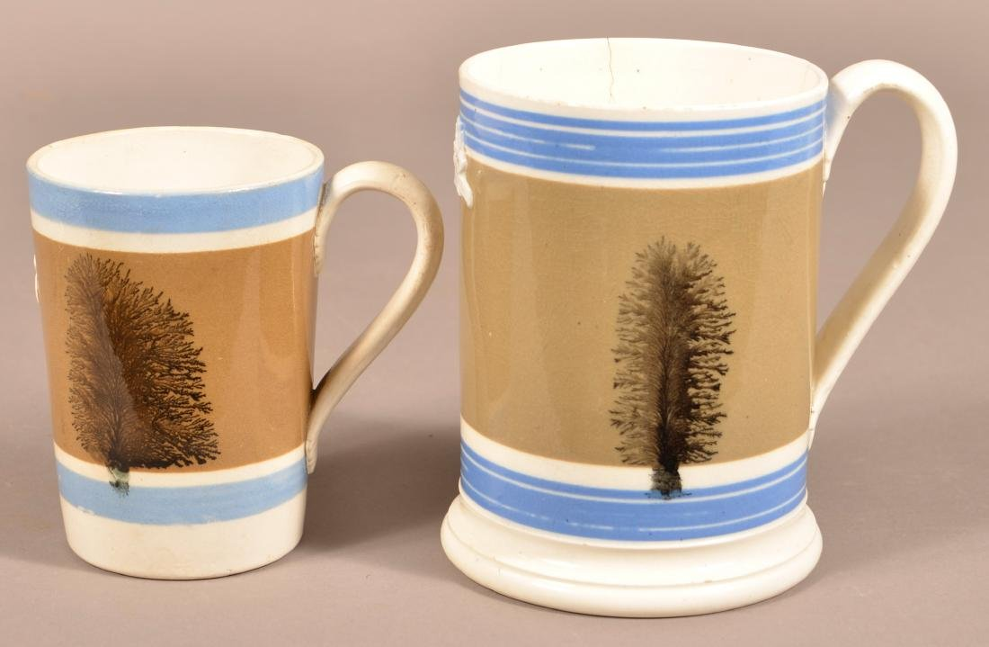 Two English Seaweed Mocha Decorated Mugs. - 3