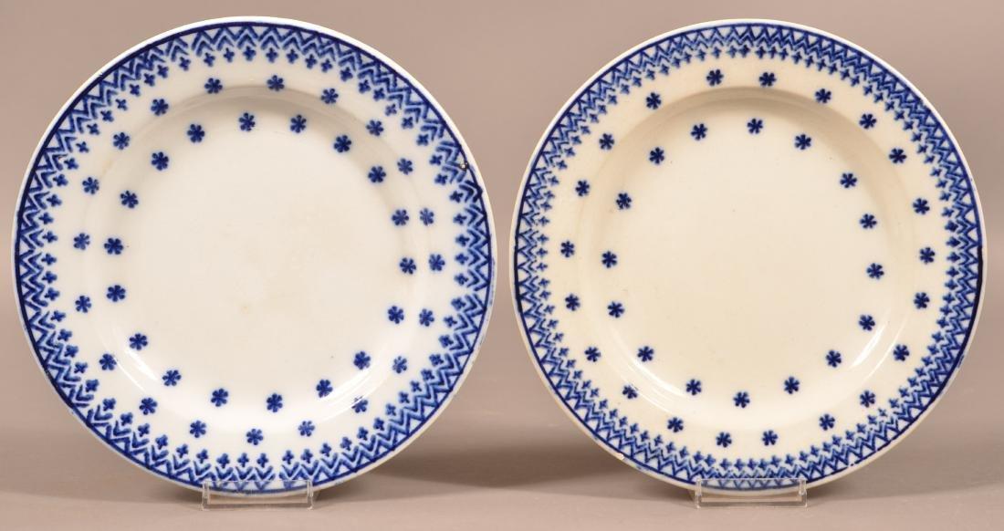 Two Flow Blue Snowflake Pattern China Plates.