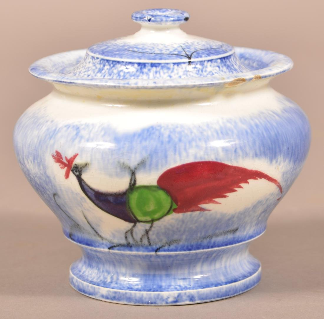 Blue Spatter Peafowl Pattern China Sugar Bowl.