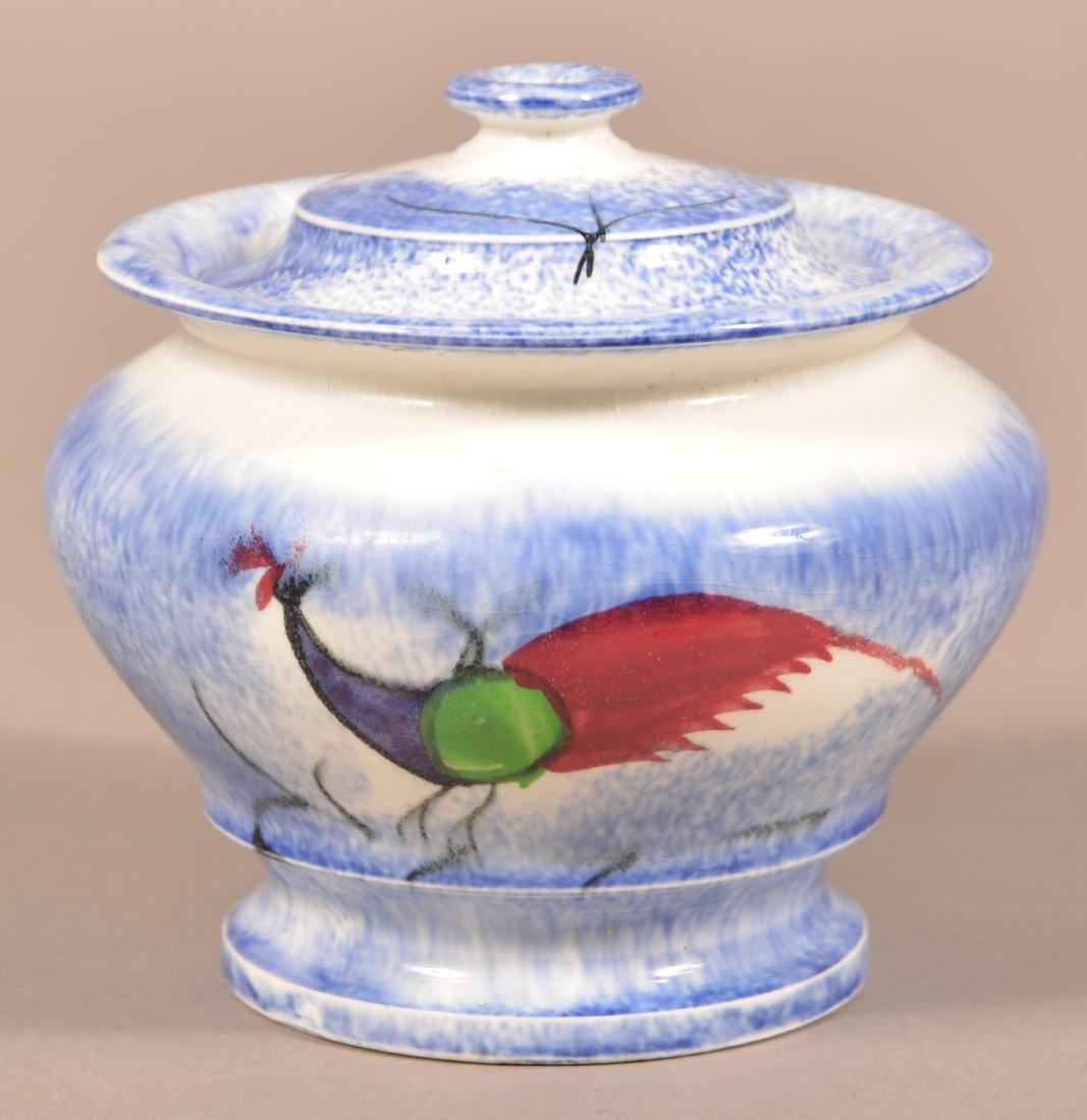 Blue Spatter Peafowl Pattern China Sugar Bowl. - 2