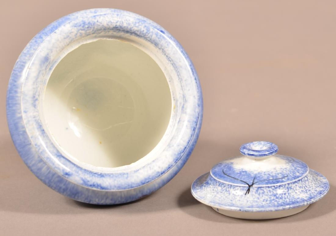 Blue Spatter Peafowl Pattern China Sugar Bowl. - 3