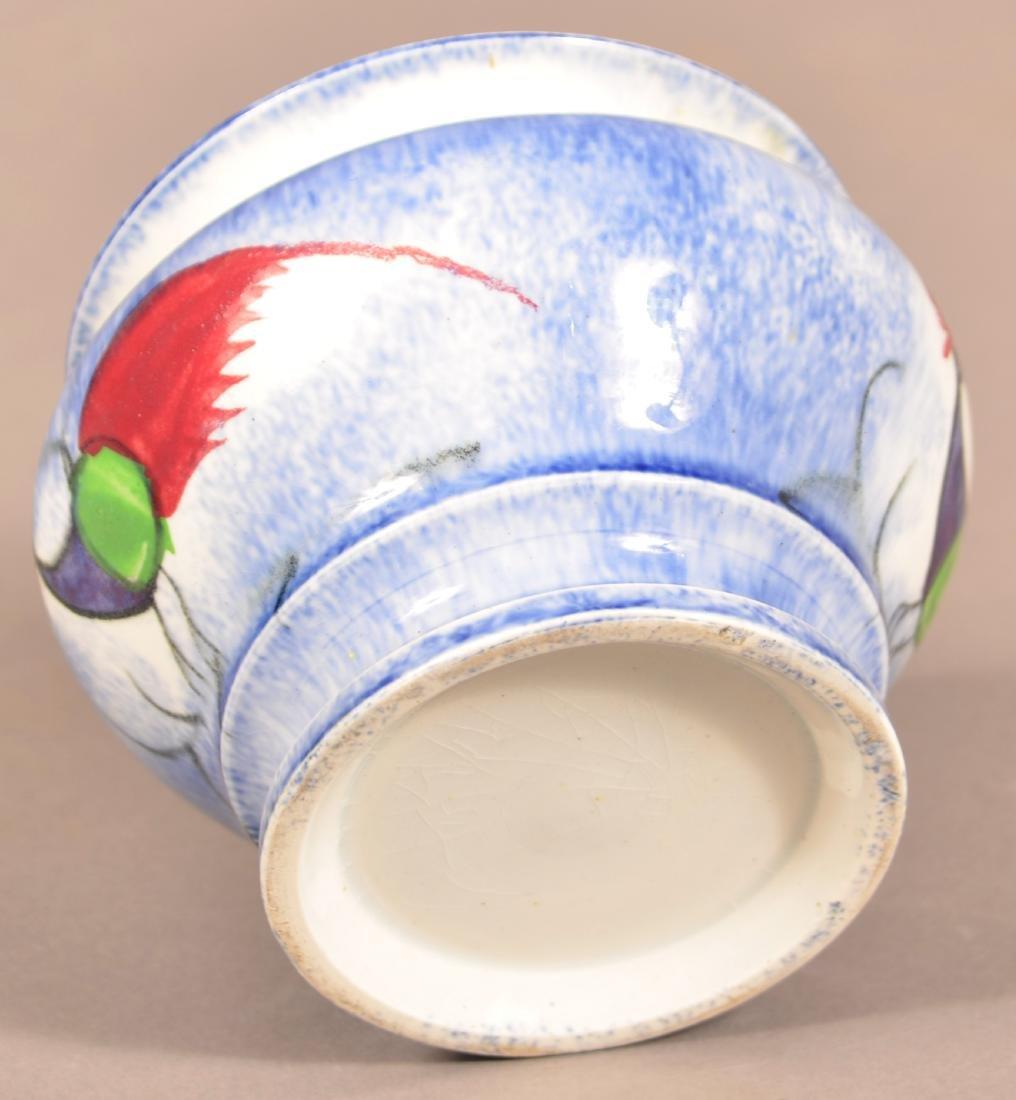 Blue Spatter Peafowl Pattern China Sugar Bowl. - 4