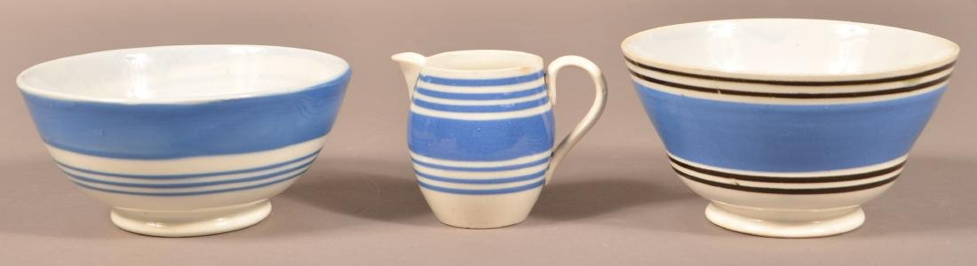 Three Pieces of Blue Band Mocha China.