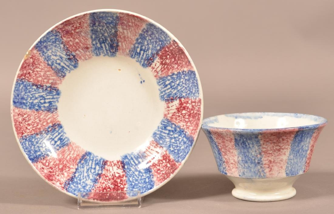 Red & Blue Rainbow Spatter China Cup & Saucer.