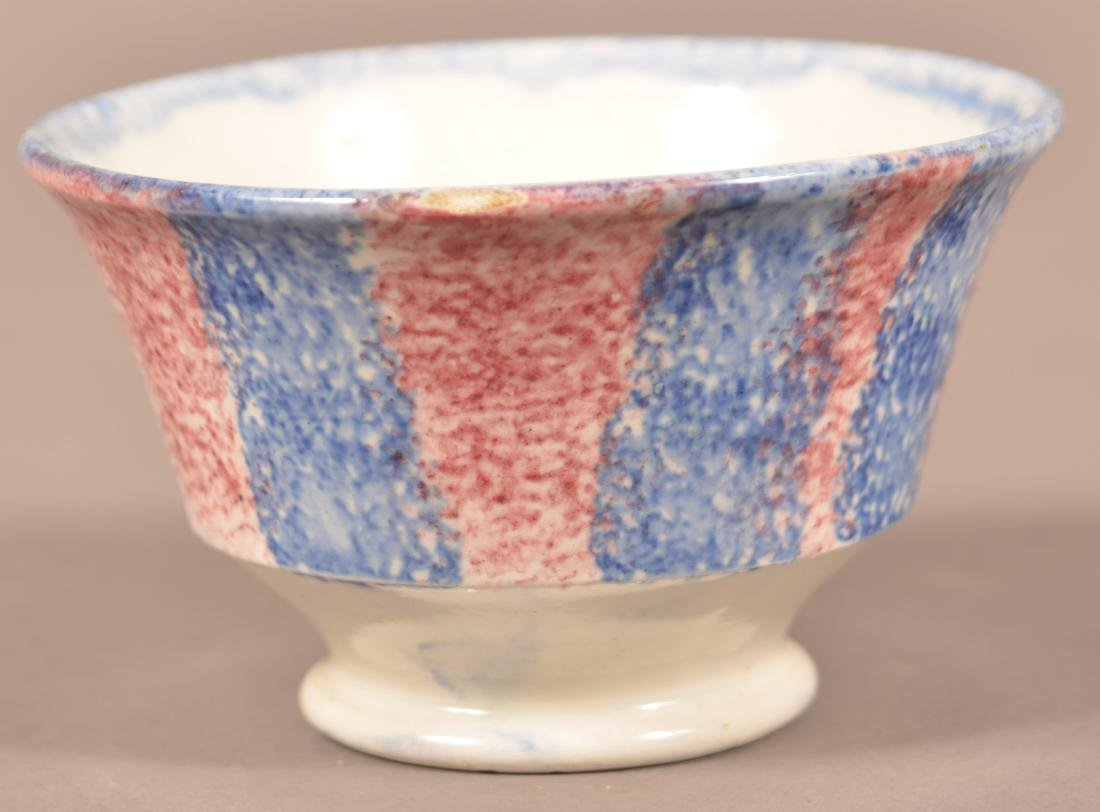 Red & Blue Rainbow Spatter China Cup & Saucer. - 2
