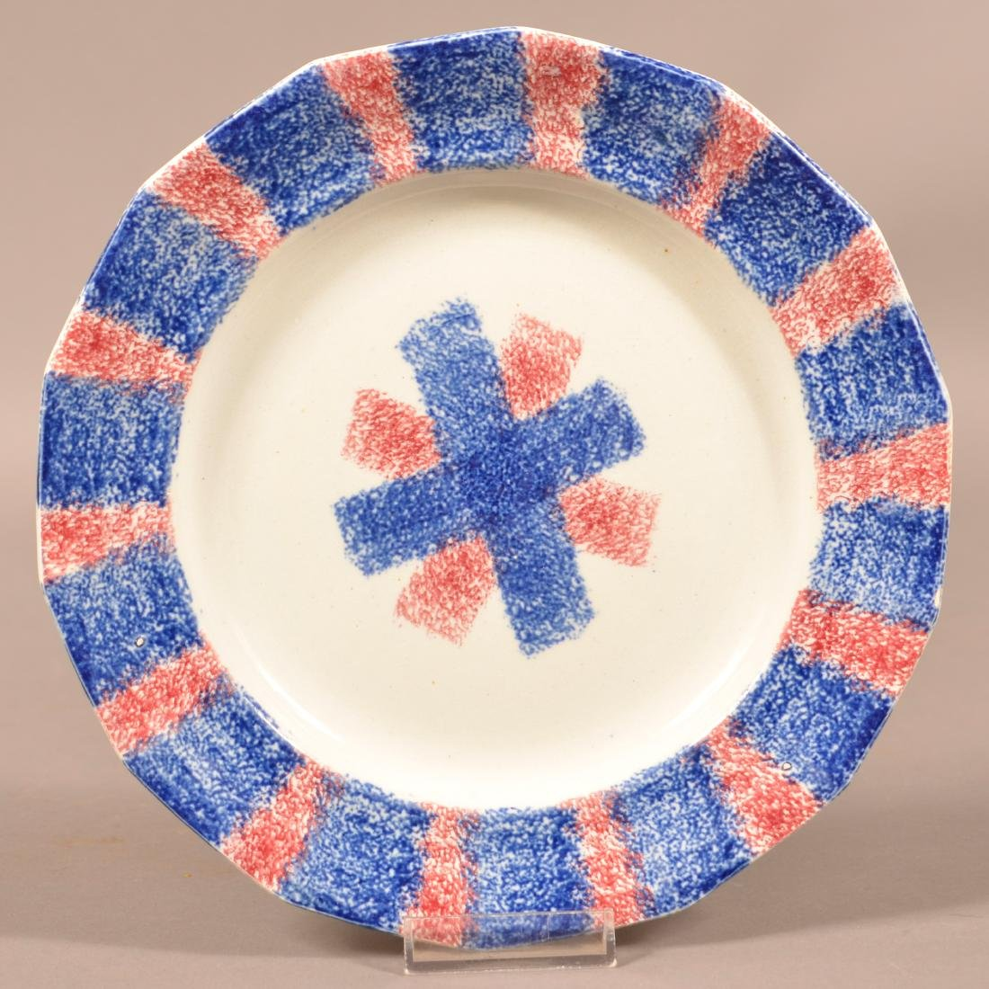 Red and Blue Rainbow Spatter China Plate.