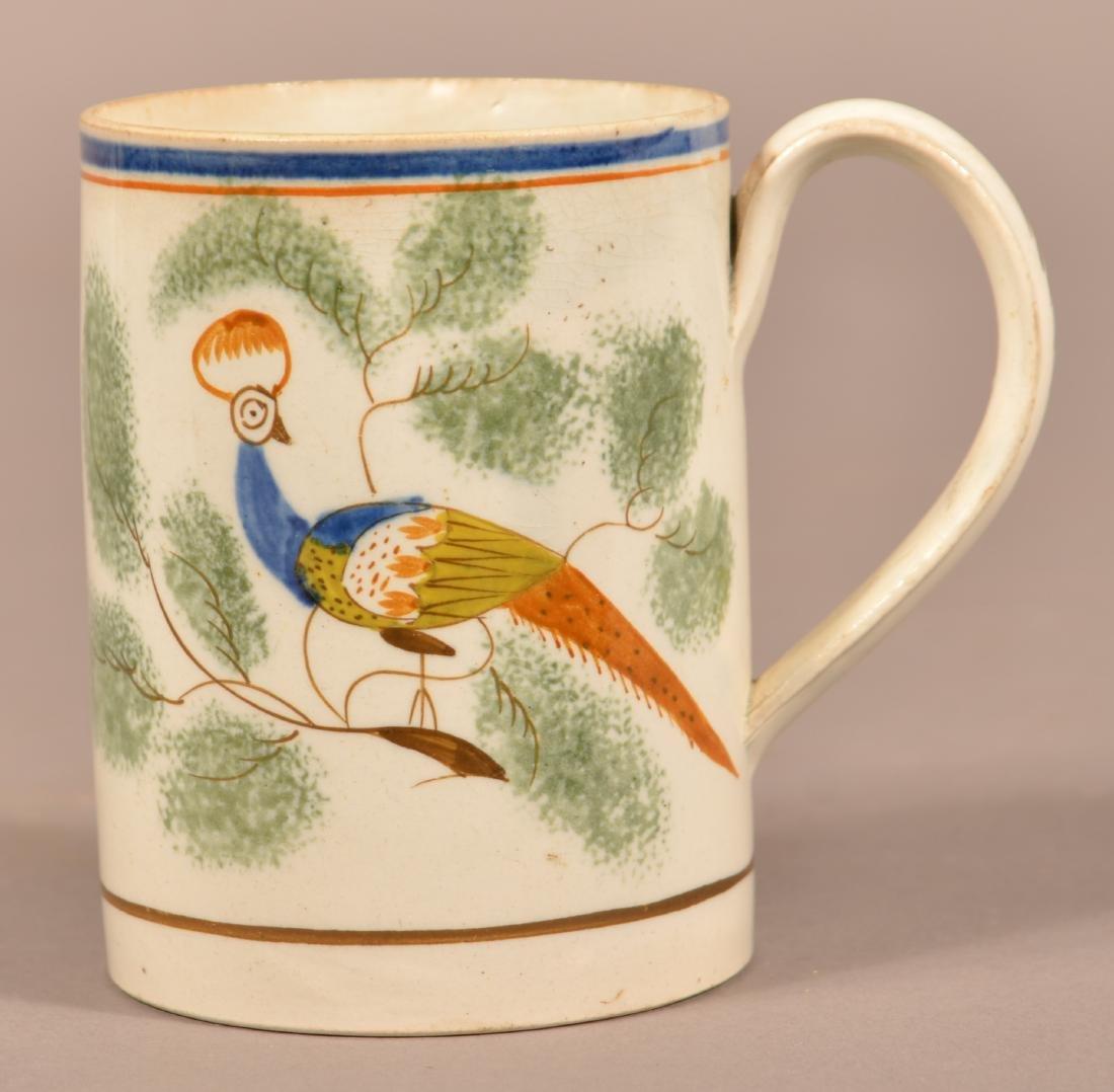 Leeds Soft Paste China Peafowl Mug.