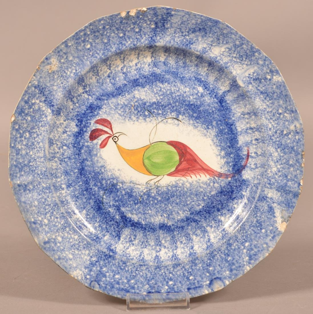Blue Spatter China Peafowl Plate.