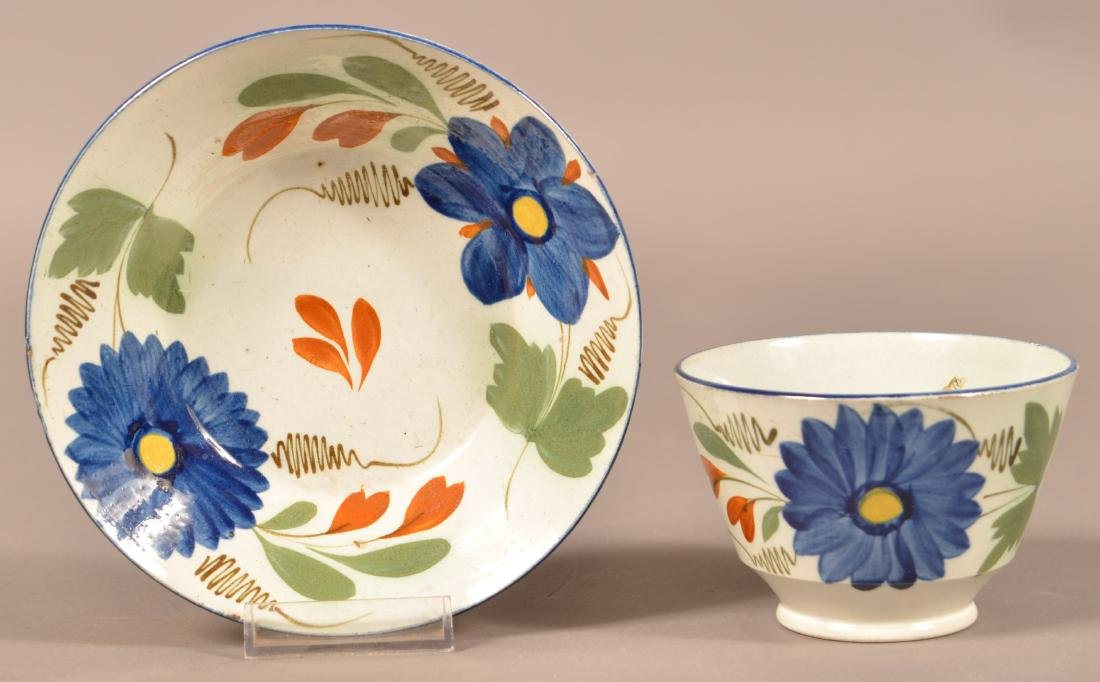 Leeds Soft Paste Floral Decorated Cup & Saucer.