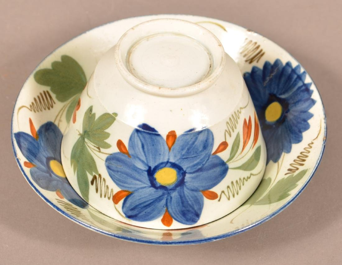 Leeds Soft Paste Floral Decorated Cup & Saucer. - 2