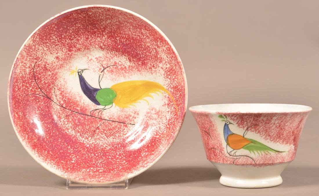 Red Spatter Peafowl Pattern China Cup and Saucer.