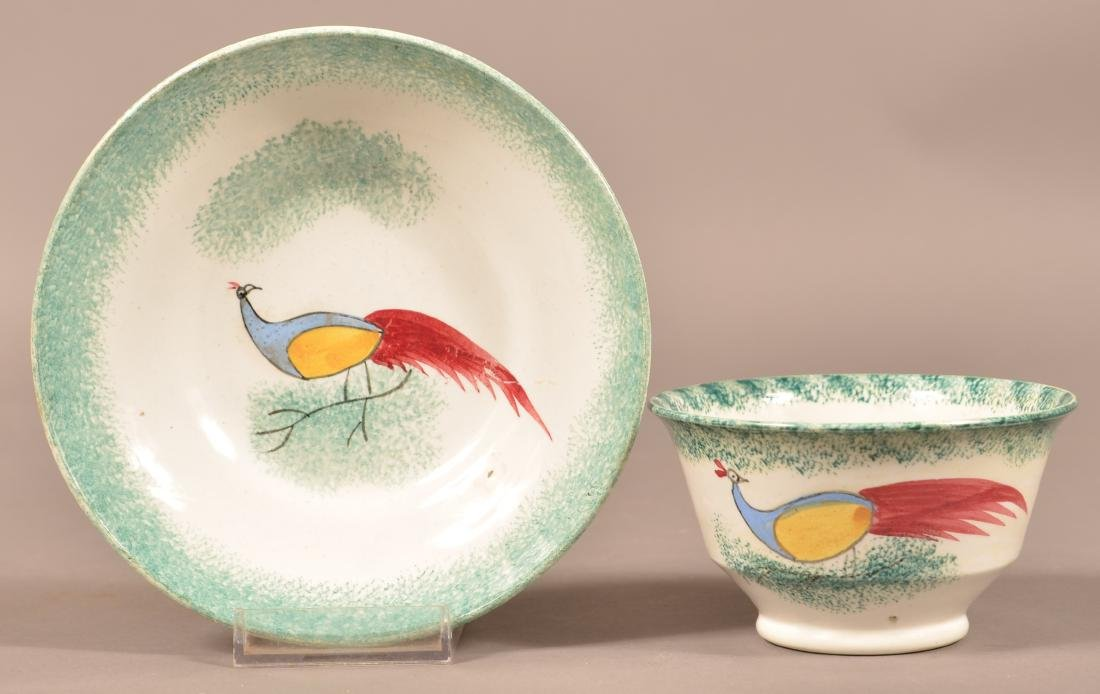 Green Spatter China Peafowl Cup and Saucer.