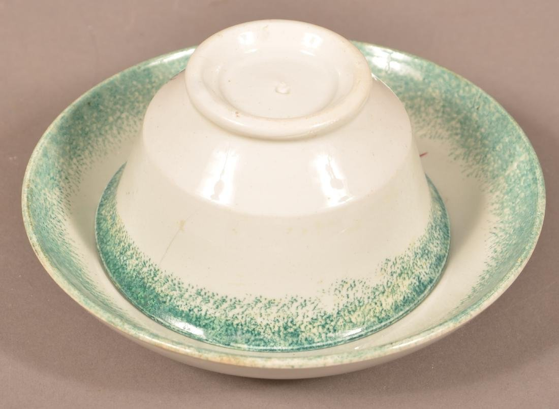 Green Spatter China Peafowl Cup and Saucer. - 3