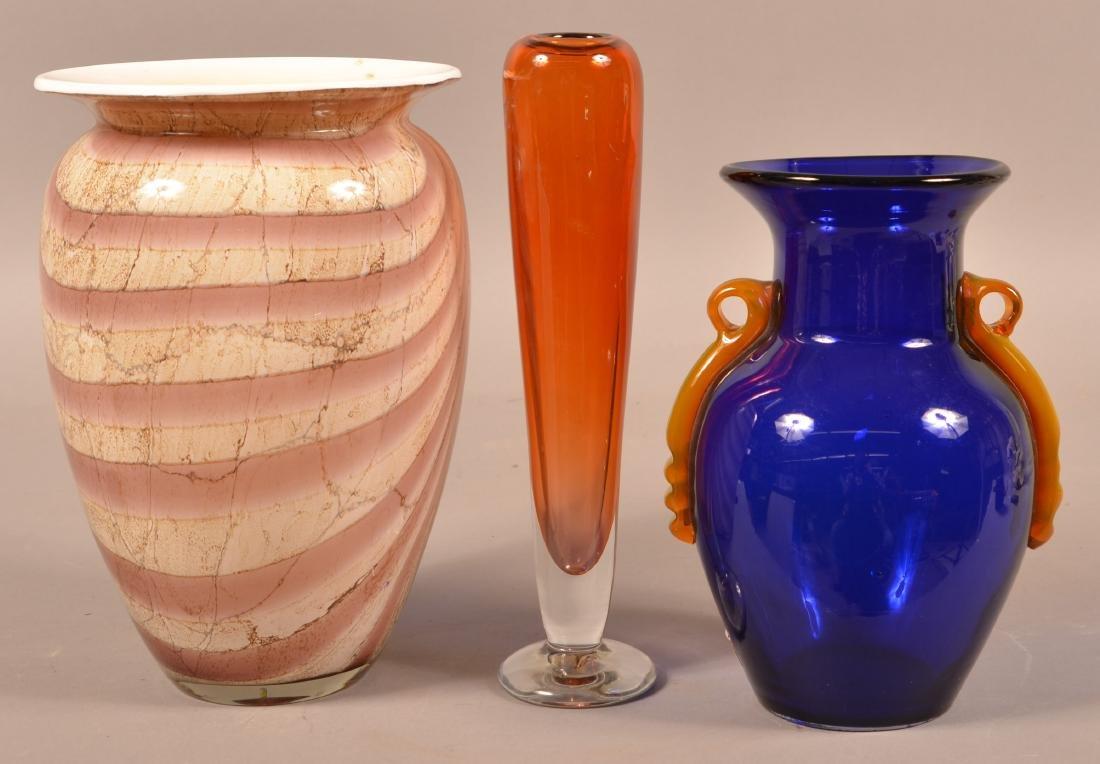 Three Contemporary Art Glass Vases.