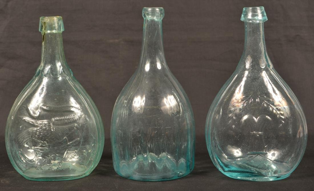 Three Various Aqua Calabash Bottles.
