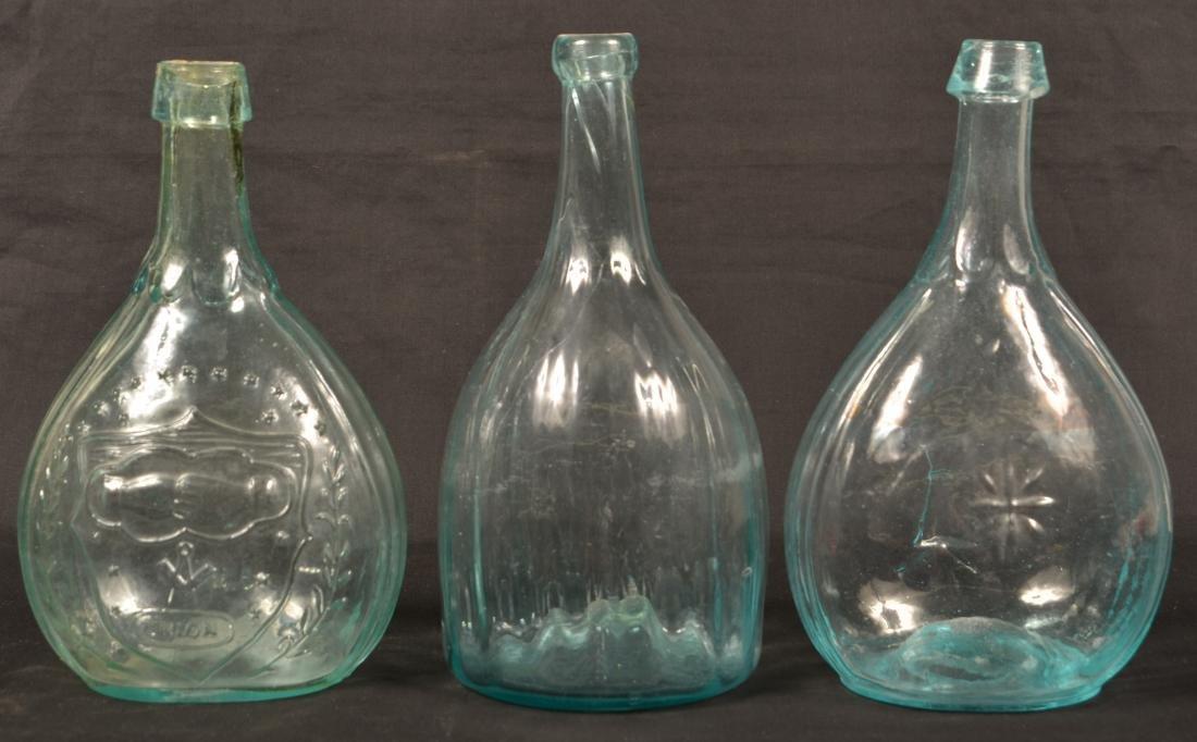 Three Various Aqua Calabash Bottles. - 2