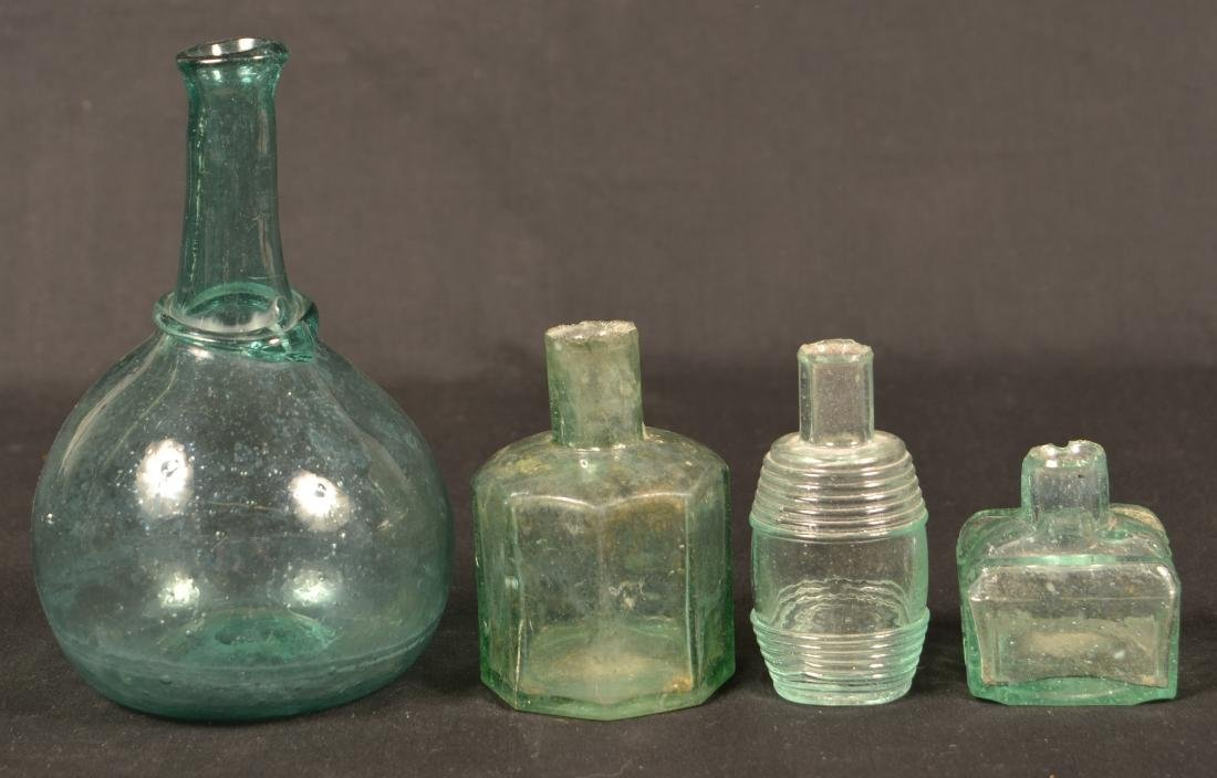 Four Various Blown Glass Bottles. - 2