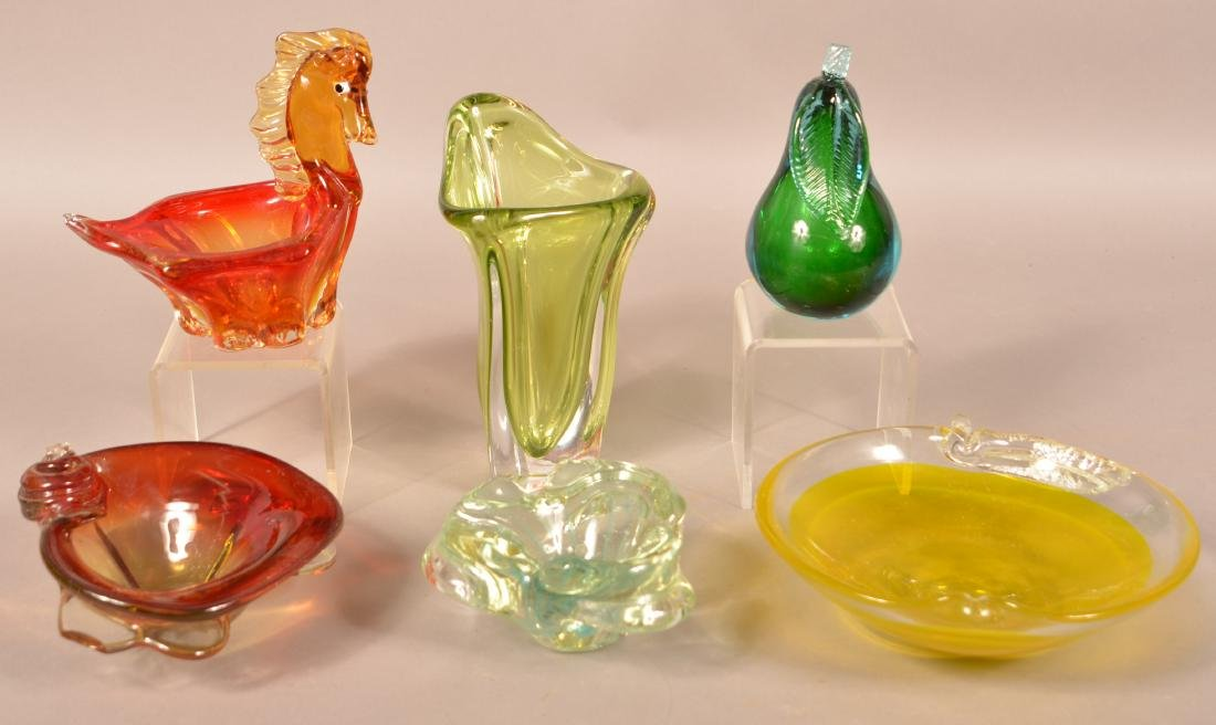 Six Pieces of Contemporary Art Glass.