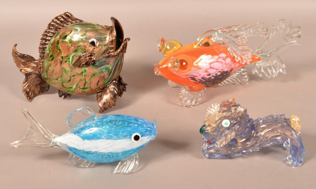 Four Contemporary Art Glass Animals.