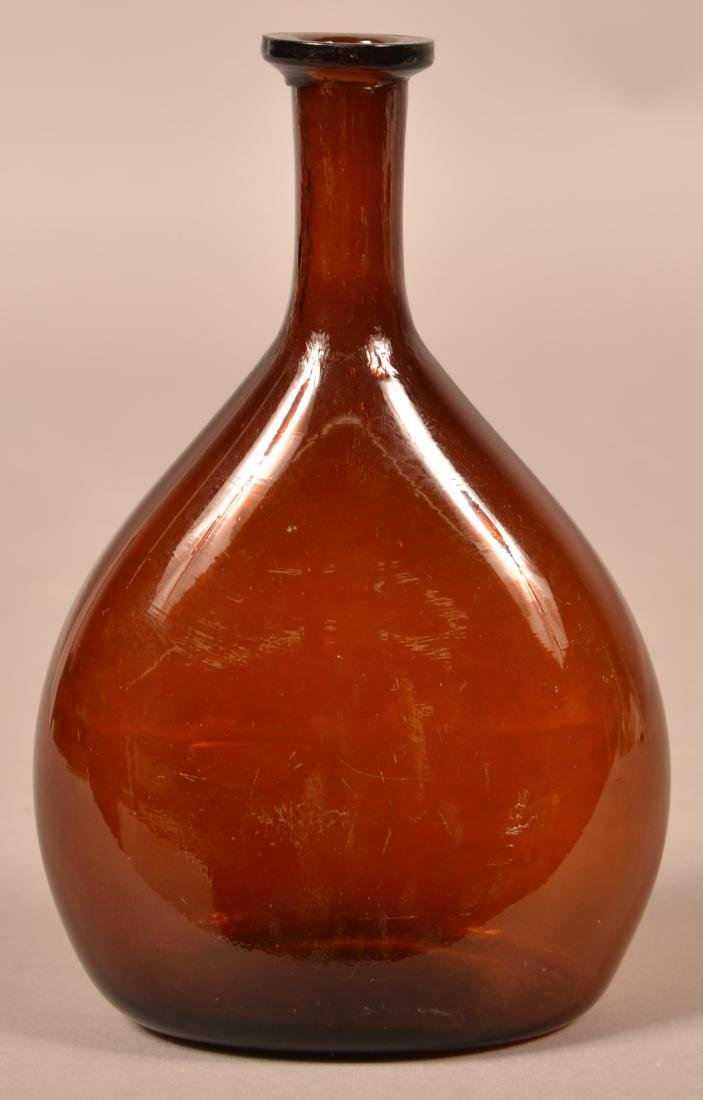 Deep Amber Blown Glass Chestnut Flask.