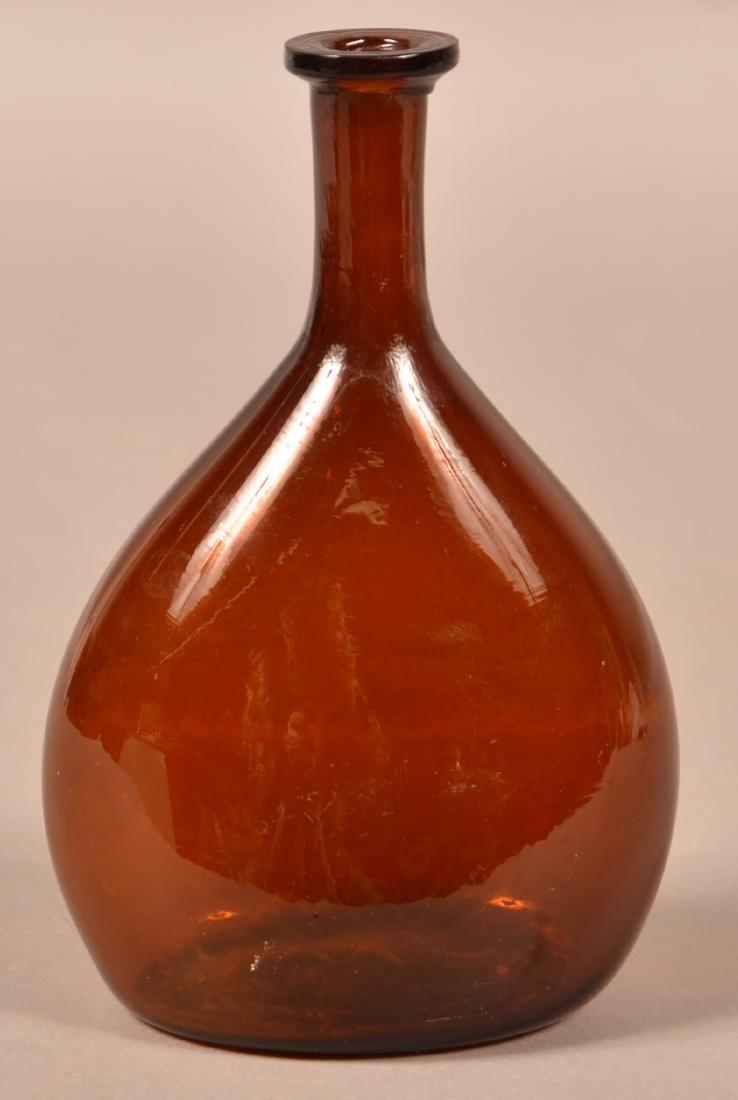 Deep Amber Blown Glass Chestnut Flask. - 2