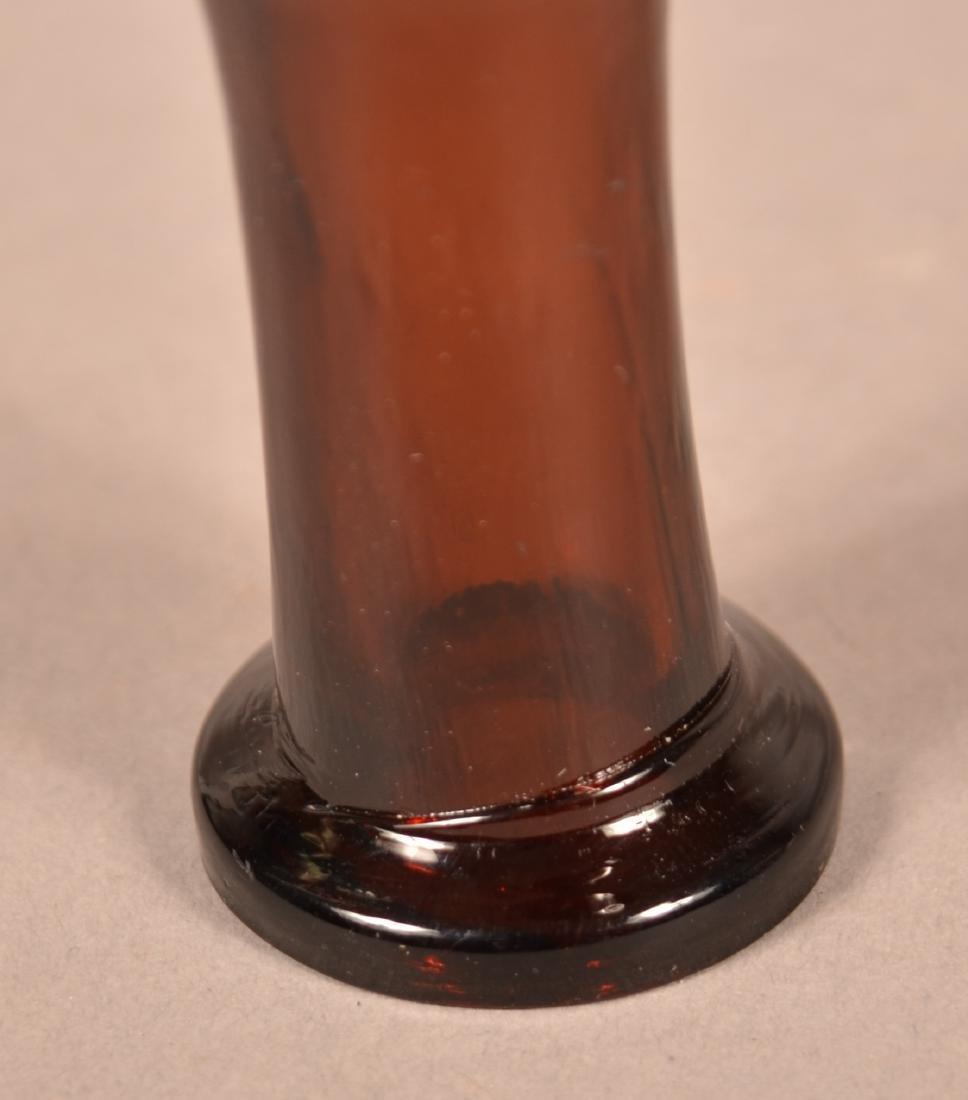 Deep Amber Blown Glass Chestnut Flask. - 4