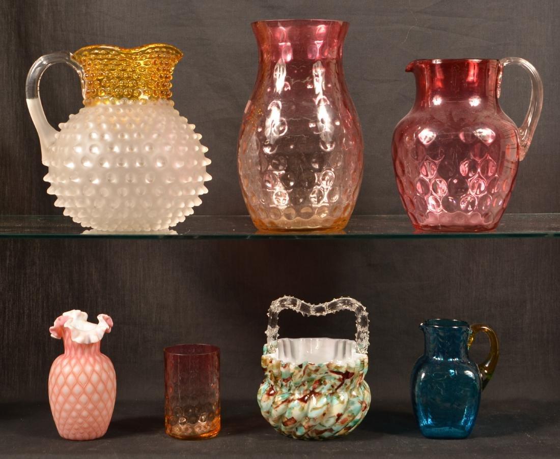 Seven Various Pieces of Victorian Art Glass.