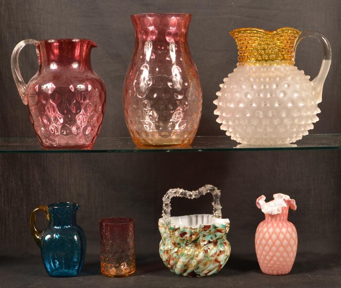 Seven Various Pieces of Victorian Art Glass. - 2