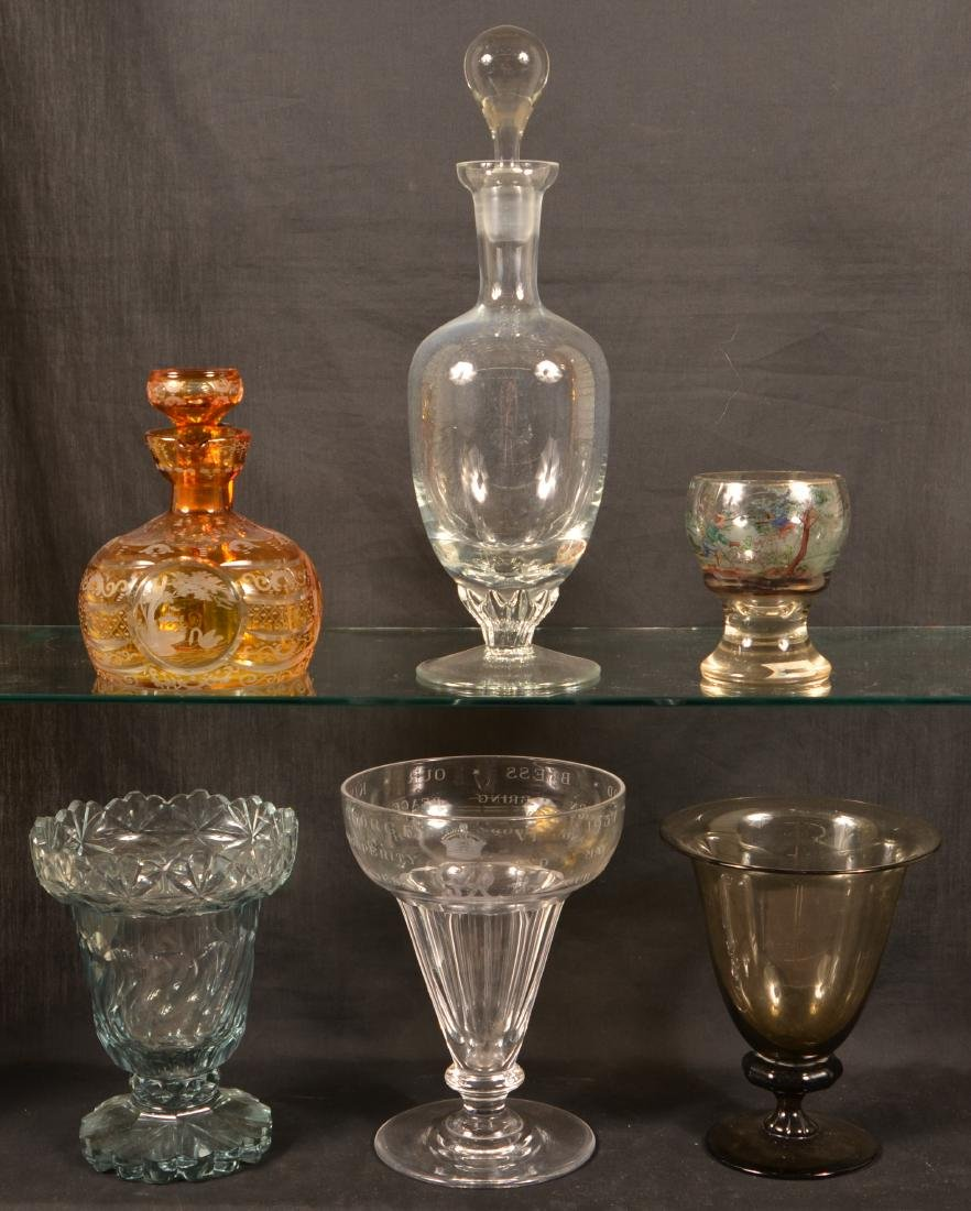 Six Various Pieces of Antique Glass.