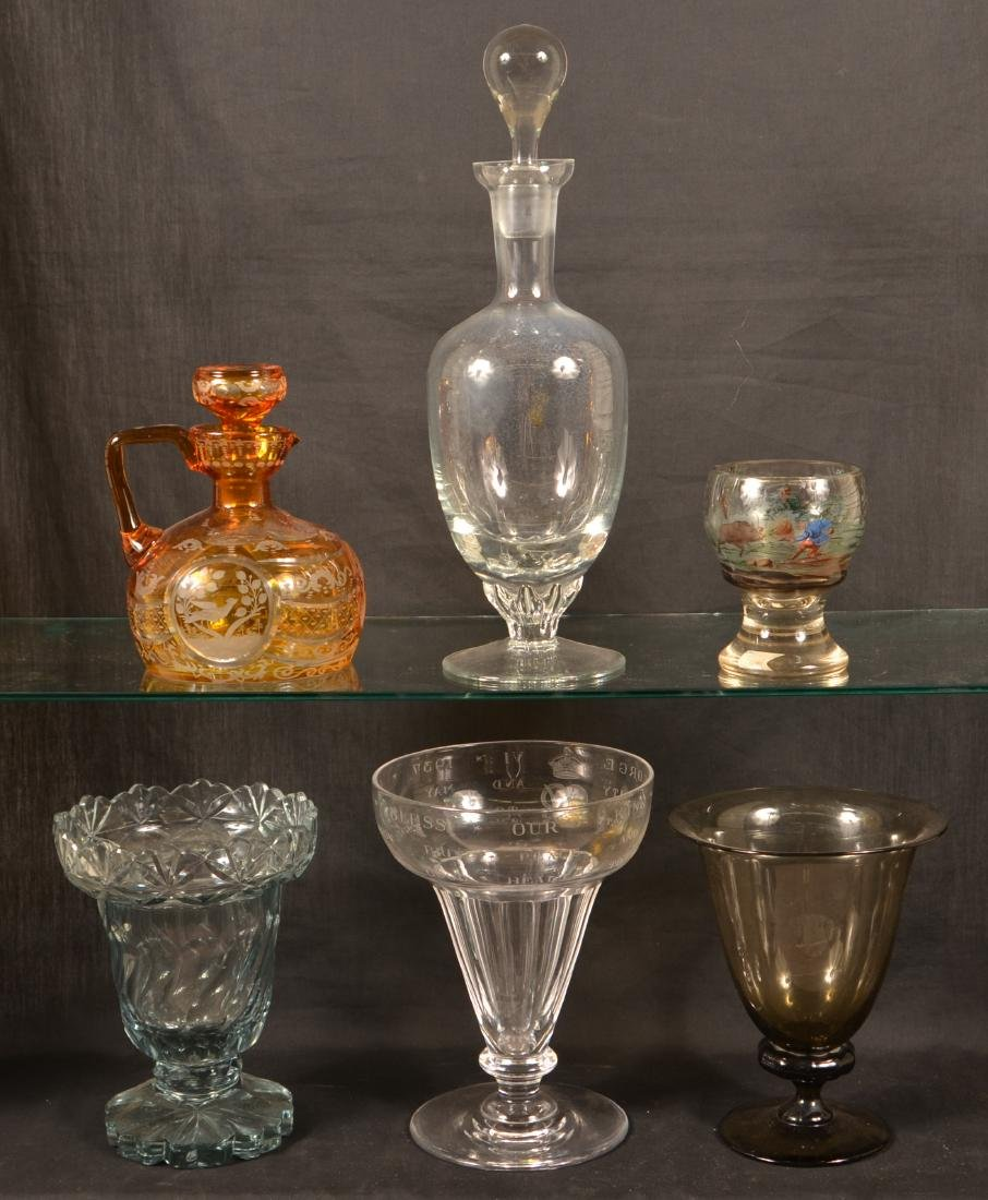Six Various Pieces of Antique Glass. - 2