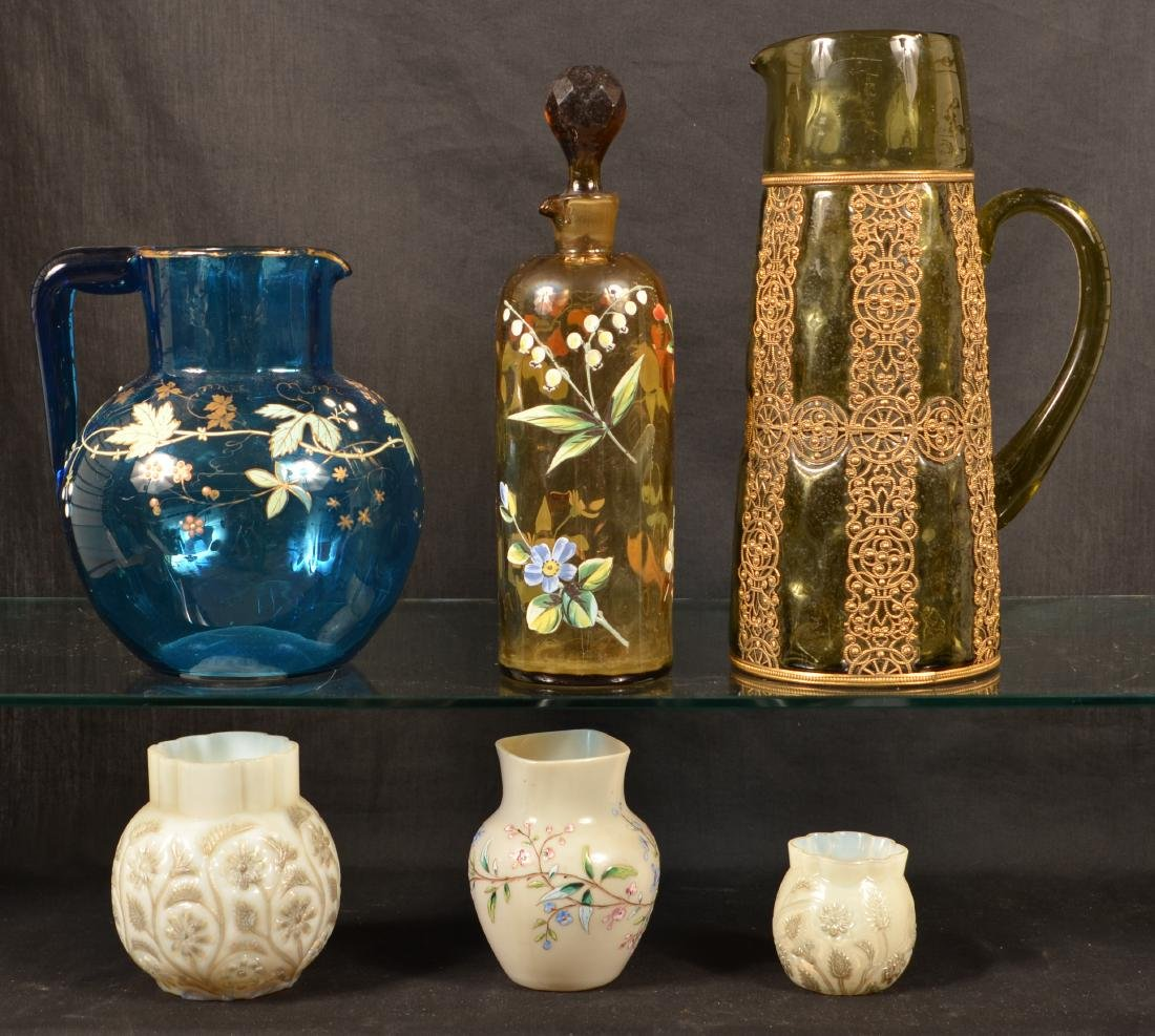 Six Various Pieces of Victorian Art Glass.