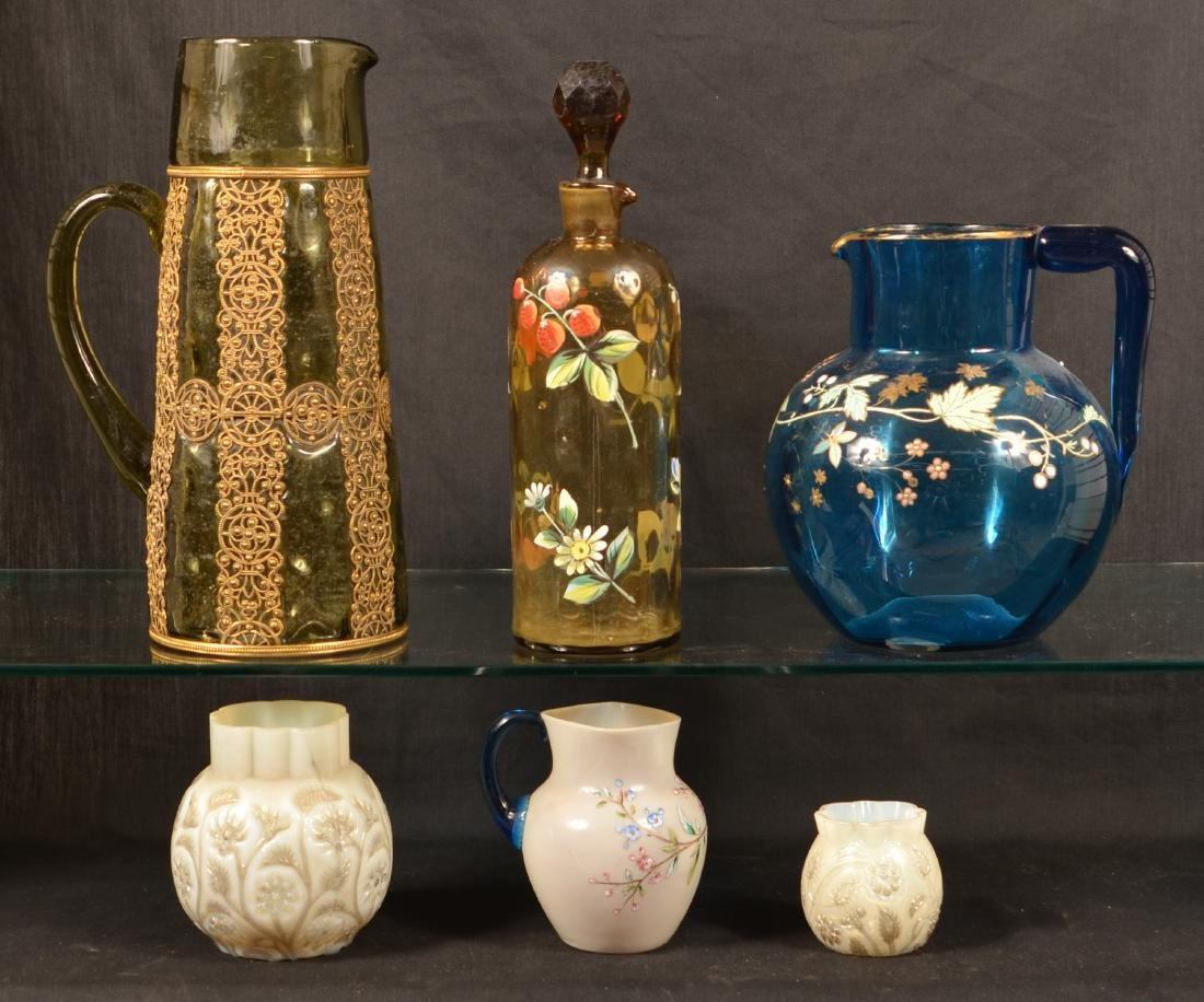 Six Various Pieces of Victorian Art Glass. - 2