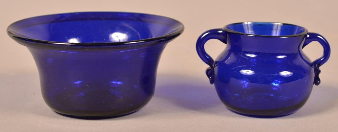 Two Pieces of Antique Cobalt Blown Glass.
