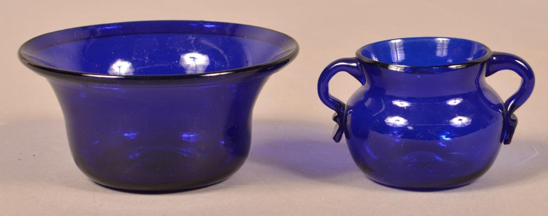 Two Pieces of Antique Cobalt Blown Glass. - 2