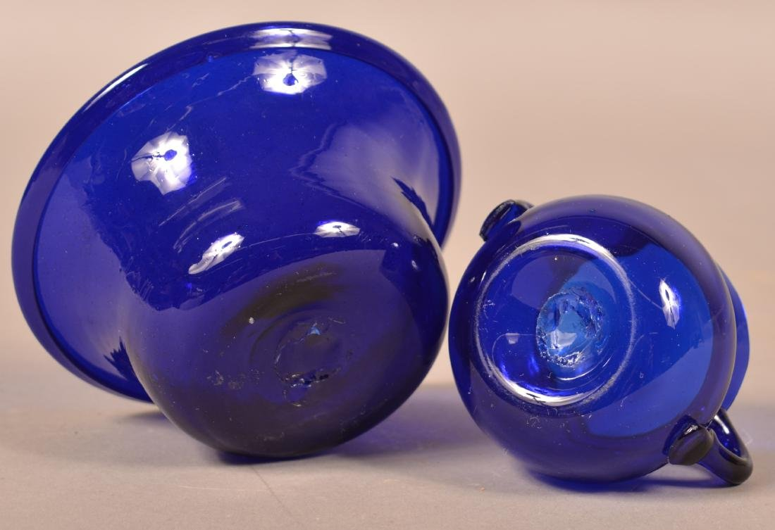 Two Pieces of Antique Cobalt Blown Glass. - 3
