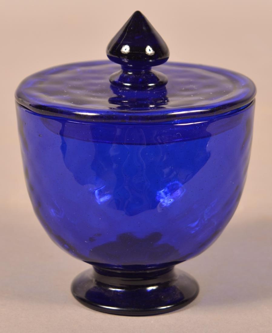 Stiegel Type Cobalt Blue Covered Sugar Bowl.