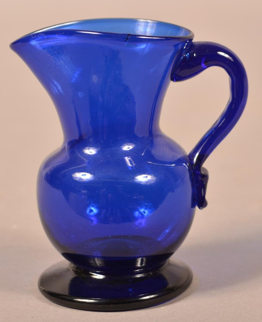 Stiegel Type Cobalt Blue Glass Cream Pitcher. - 2