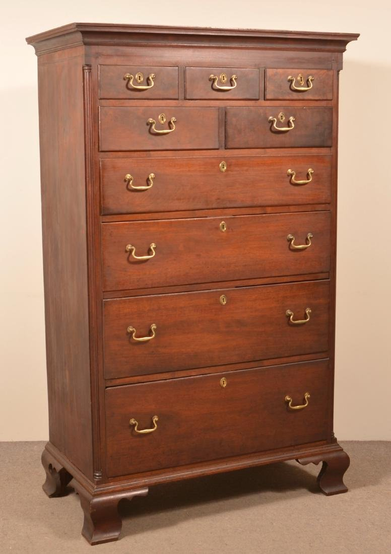 PA Chippendale Walnut Tall Chest of Drawers.
