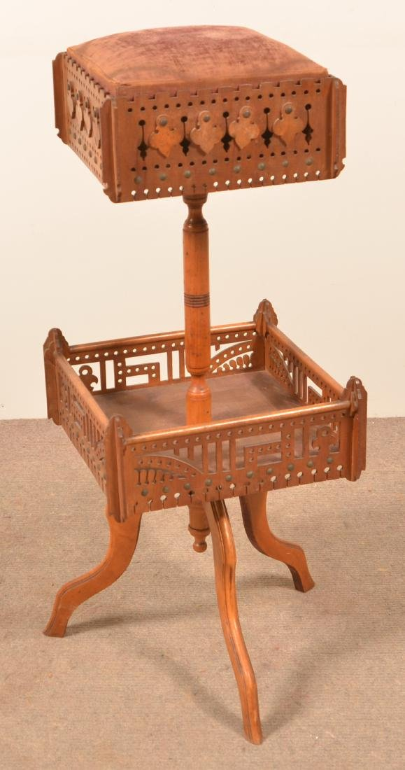 Fretwork Sewing Stand with Spool Holder.