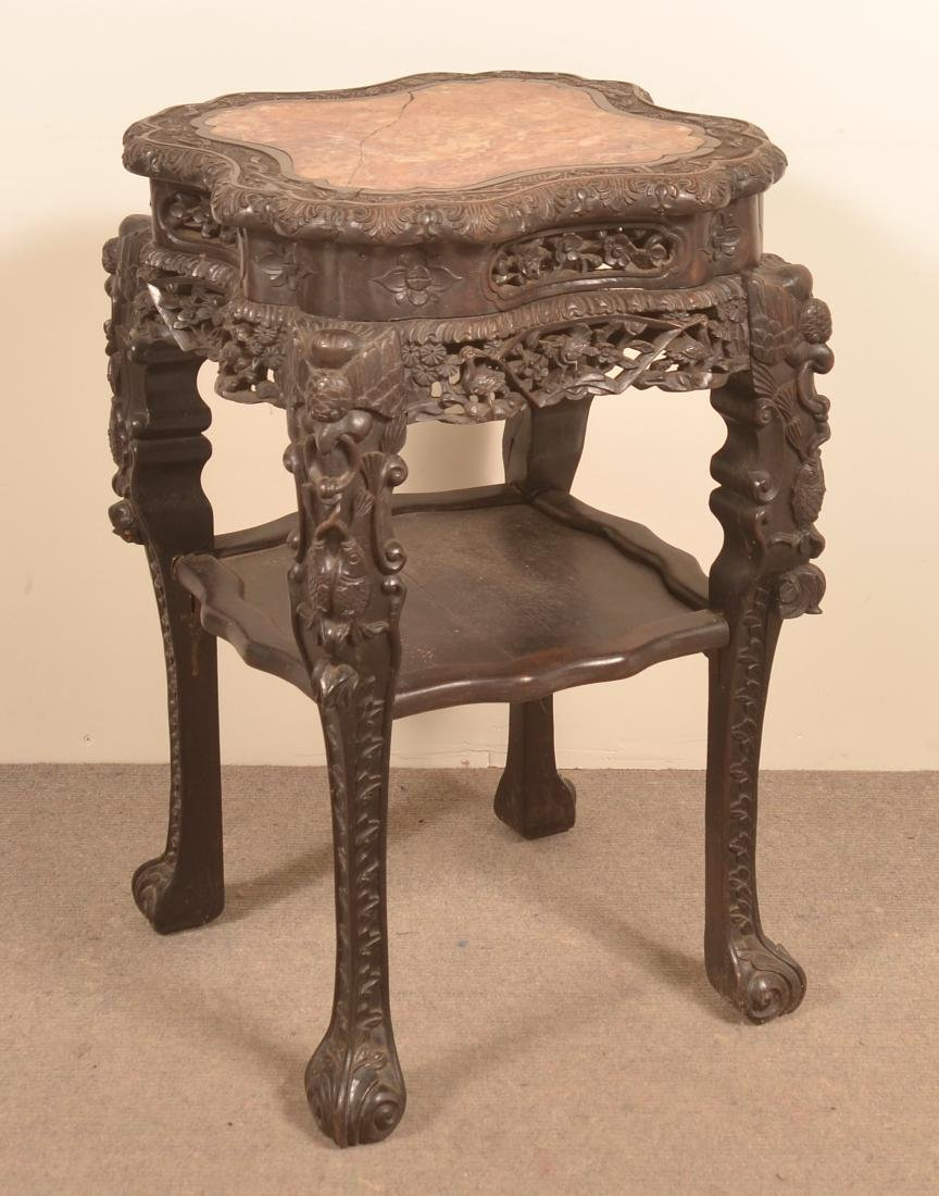 Chinese Carved Rosewood Marble Top Stand.
