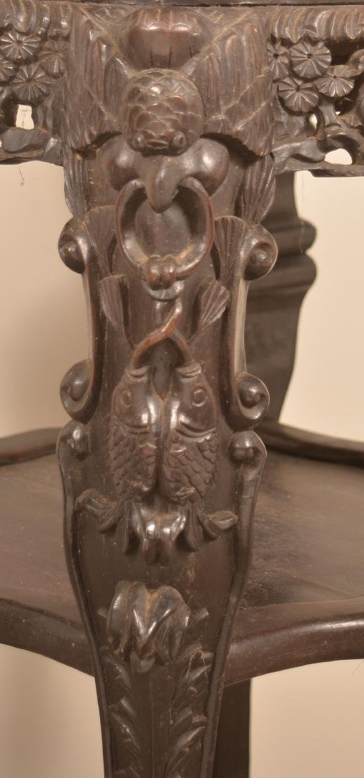 Chinese Carved Rosewood Marble Top Stand. - 3